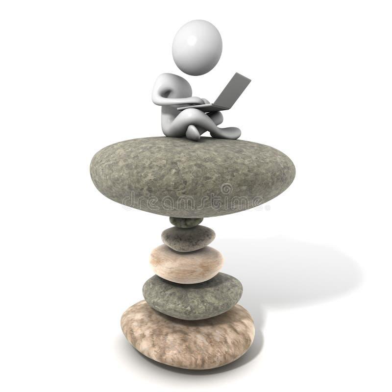 Giovane che si siede sulla pila di pietre con il Lapt immagine stock