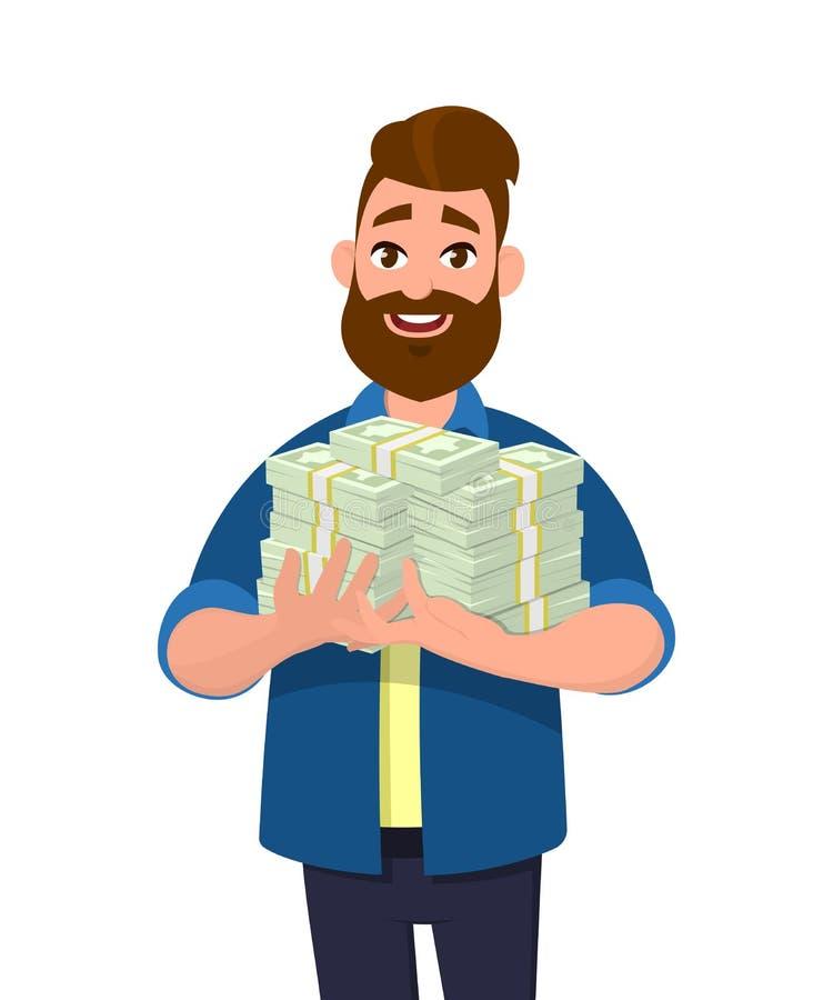 Giovane che tiene i pacchi di contanti, di soldi o delle note di valuta in mani illustrazione vettoriale