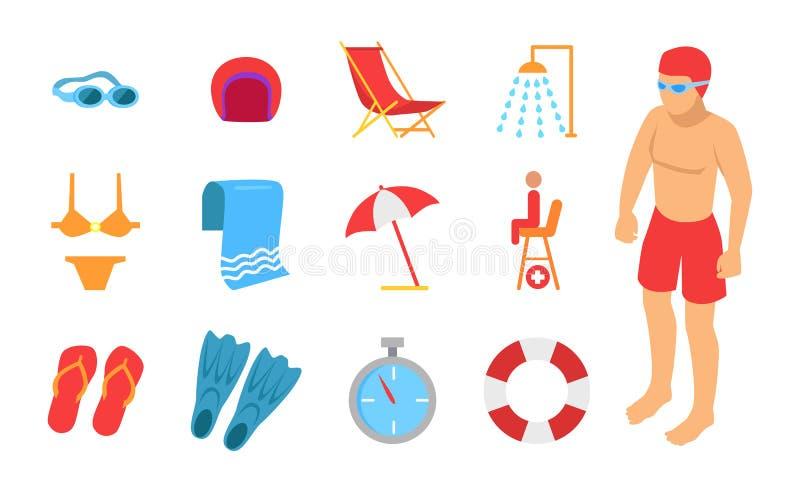 Giovane circondato con l'icona di nuoto dell'attrezzatura illustrazione di stock