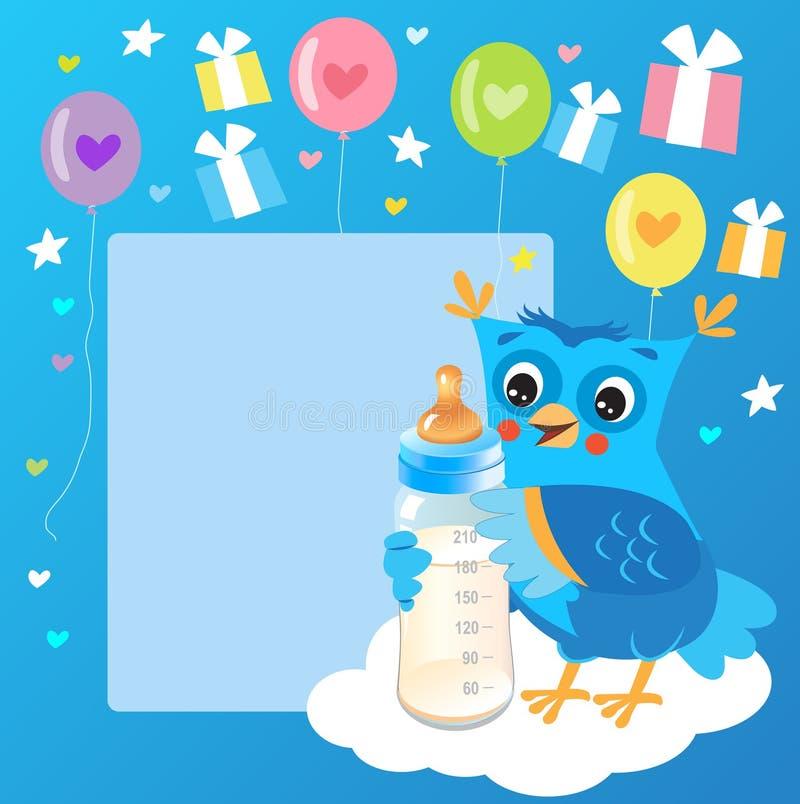 Giovane civetta sveglia con la bottiglia per il latte Carta benvenuta del neonato Illustrazione di vettore Owl Drawings sveglio royalty illustrazione gratis
