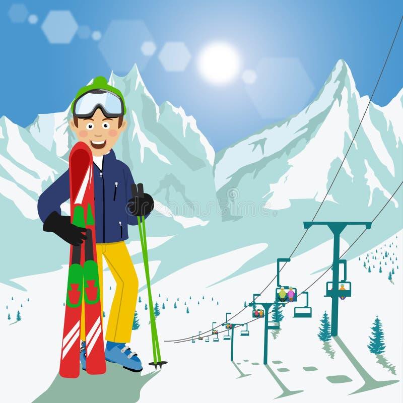 Giovane con gli sci ed i pali che stanno davanti alle montagne con la seggiovia dello sci ed il sole luminoso nella stazione scii illustrazione vettoriale