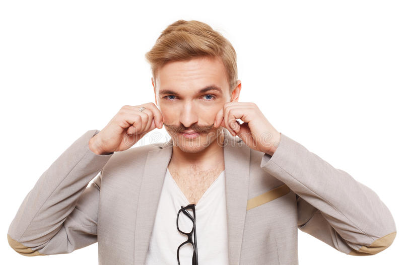 Giovane con i baffi isolati a bianco fotografia stock libera da diritti