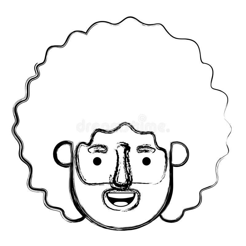 Giovane con il carattere capo dell'avatar di afro illustrazione di stock