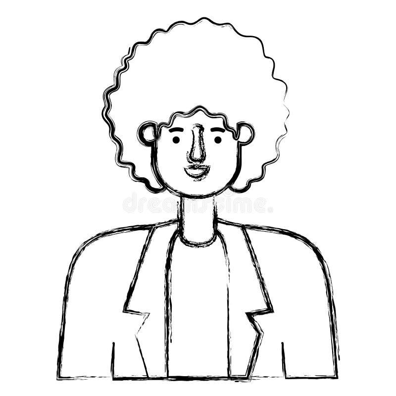 Giovane con il carattere dell'avatar di afro royalty illustrazione gratis