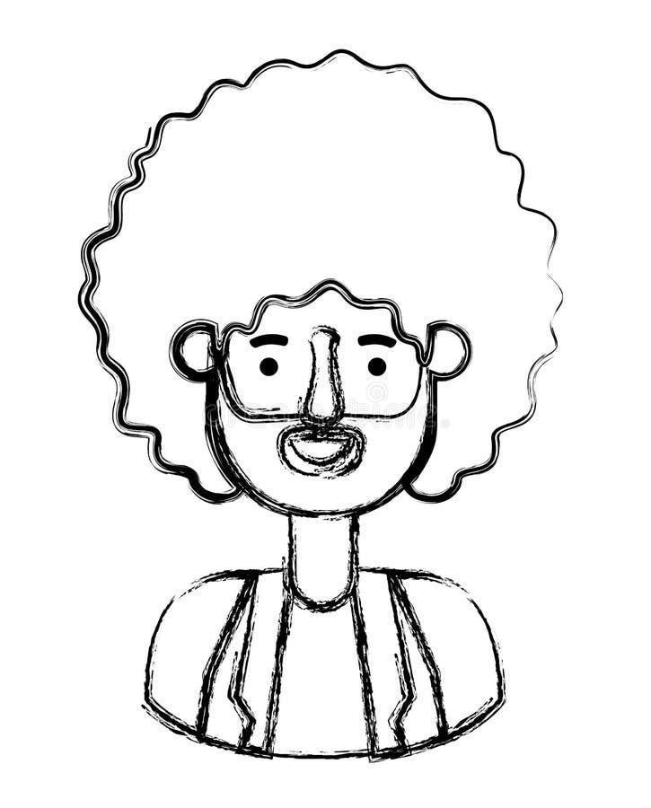 Giovane con il carattere dell'avatar di afro illustrazione di stock