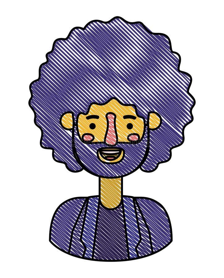 Giovane con il carattere dell'avatar di afro illustrazione vettoriale