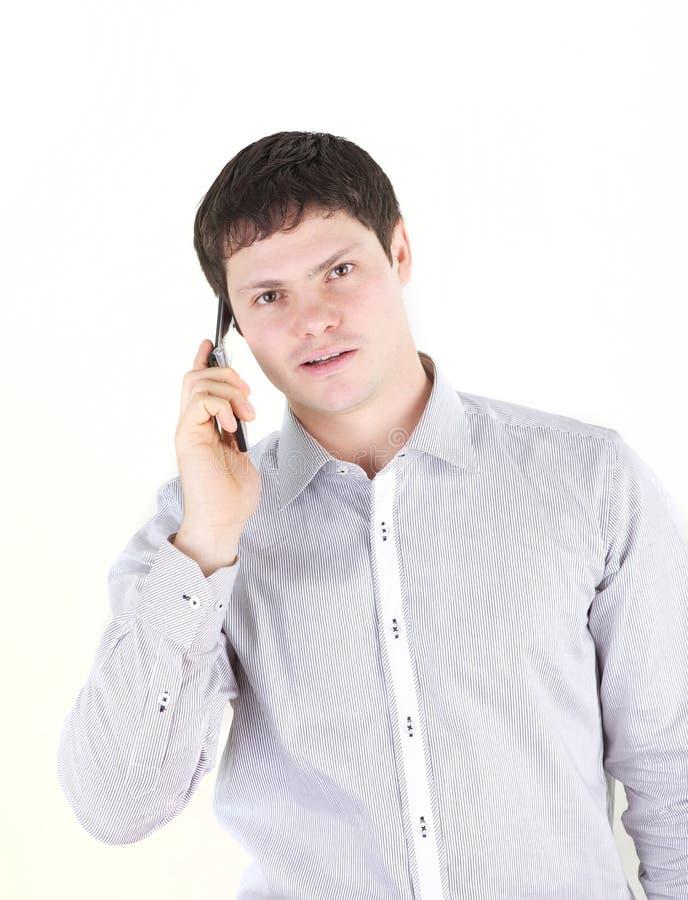 Giovane con il telefono fotografie stock libere da diritti