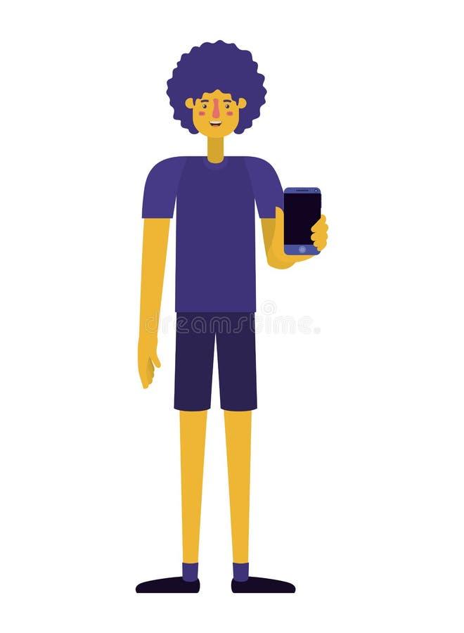 Giovane con l'afro e lo smartphone royalty illustrazione gratis