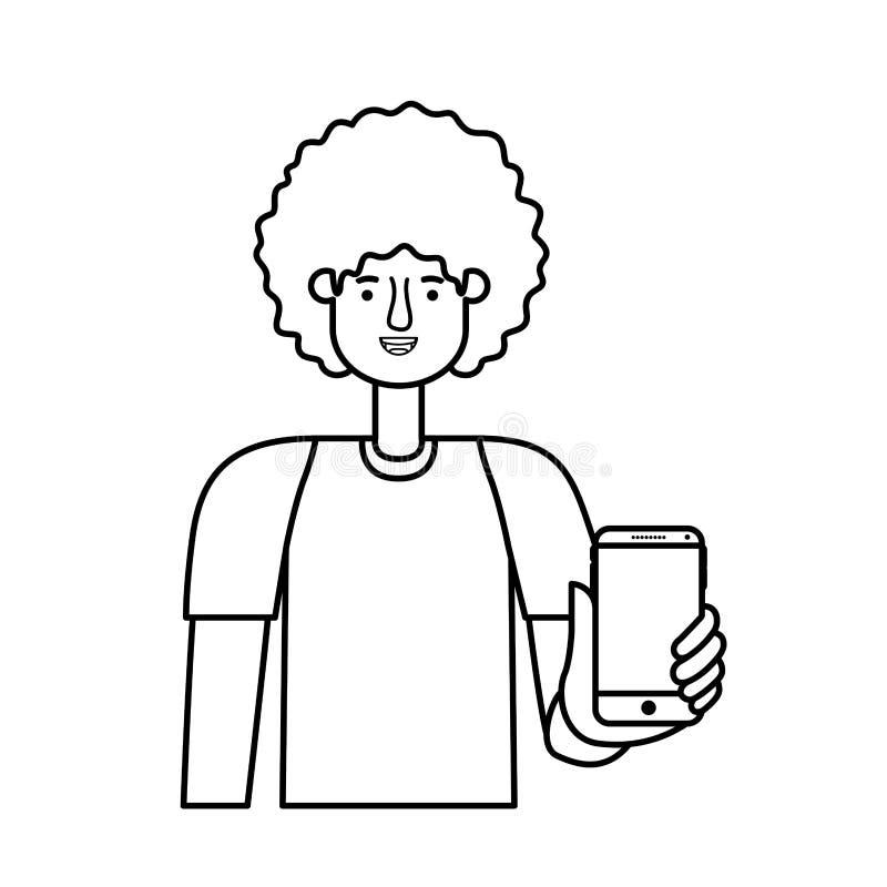 Giovane con l'afro e lo smartphone illustrazione vettoriale
