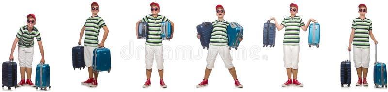 Giovane con la valigia isolata su bianco immagini stock libere da diritti