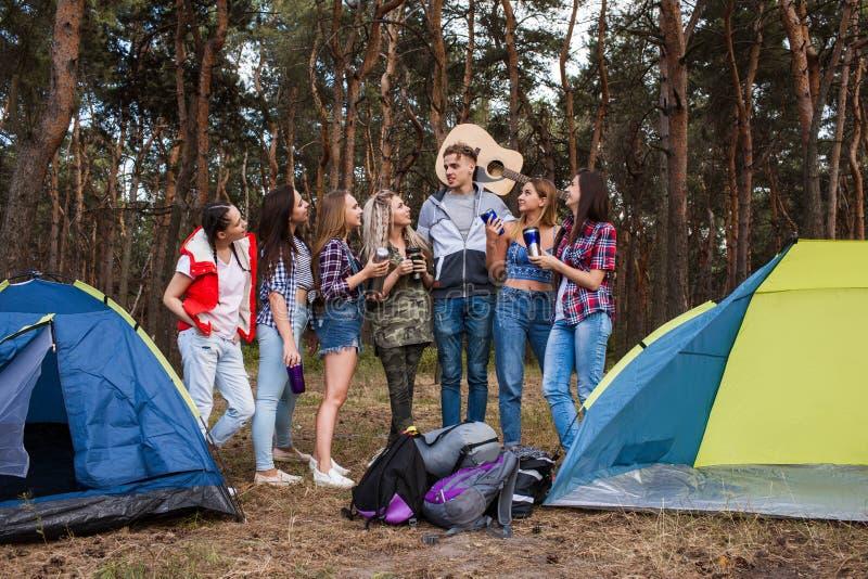 Giovane concetto di turismo della foresta del gruppo degli amici fotografie stock libere da diritti
