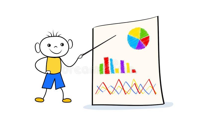 Giovane condizione del ragazzo di scarabocchio vicino al grafico di vibrazione ed indicare al bordo con il grafico ed il diagramm illustrazione di stock