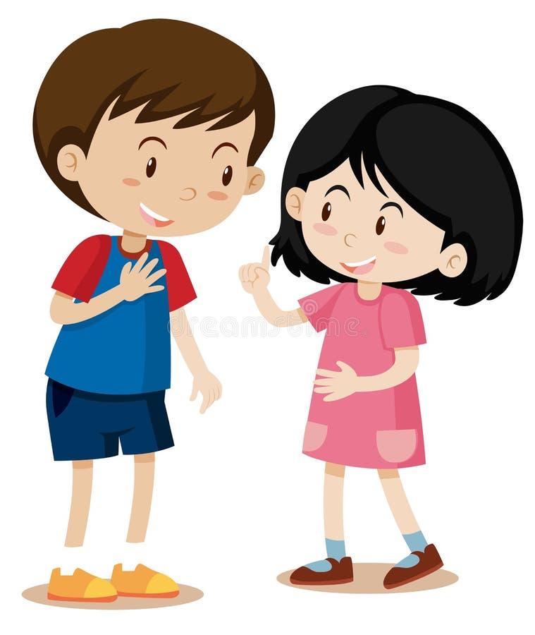 Giovane conversazione della ragazza e del ragazzo illustrazione di stock