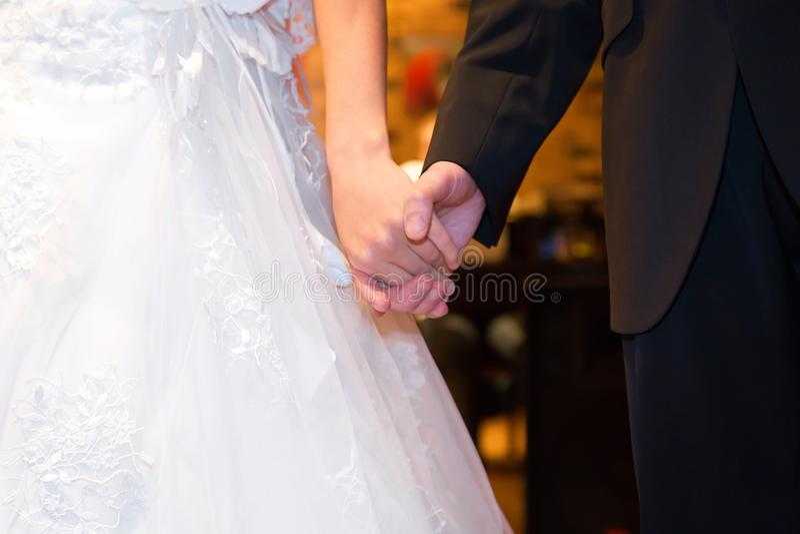 Giovane coppia sposata che si tiene per mano, giorno delle nozze di cerimonia immagine stock libera da diritti