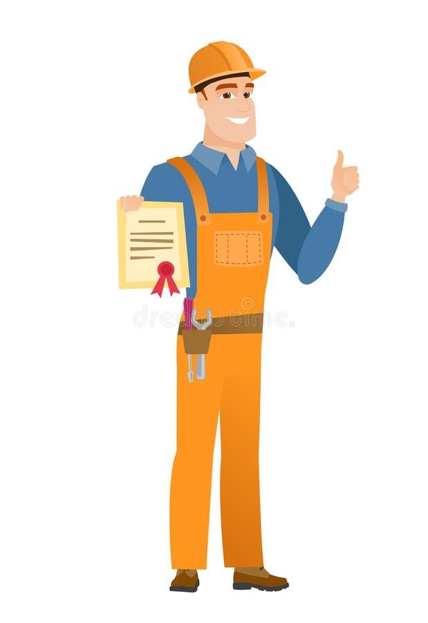 Giovane costruttore caucasico che tiene un certificato illustrazione vettoriale