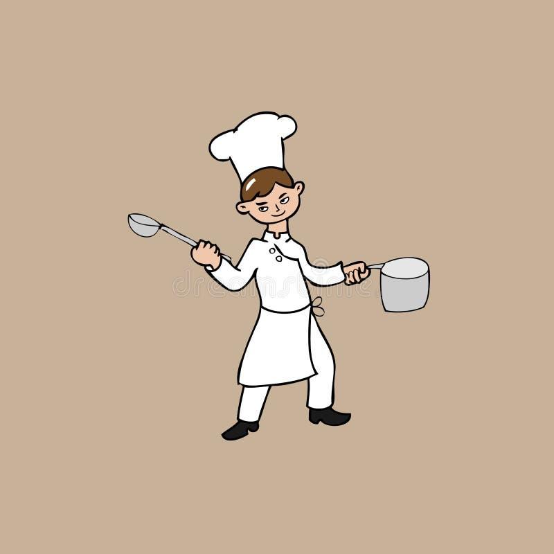 Giovane cuoco unico illustrazione vettoriale