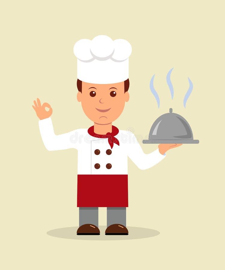 Giovane cuoco unico professionista Un carattere felice del cuoco unico del fumetto che tiene un vassoio illustrazione vettoriale