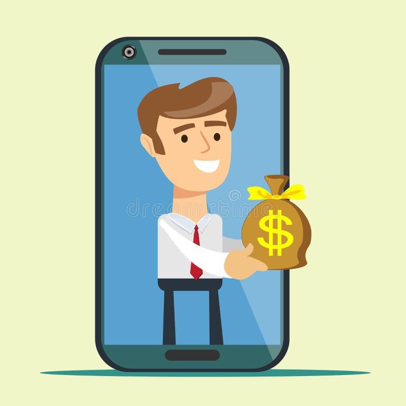 Giovane dallo schermo dello smartphone che dà la borsa dei soldi, illustrazione vettoriale