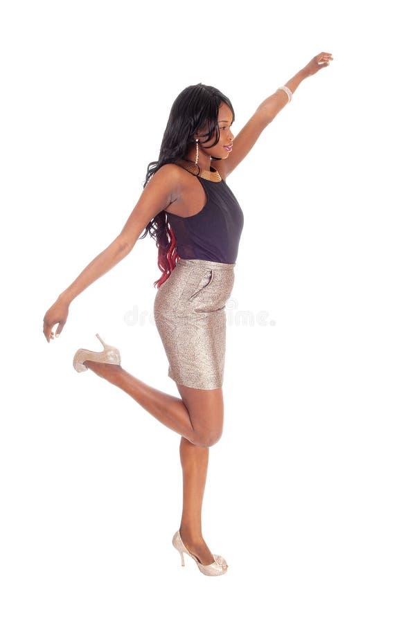 Giovane dancing della donna dell'afroamericano immagini stock libere da diritti