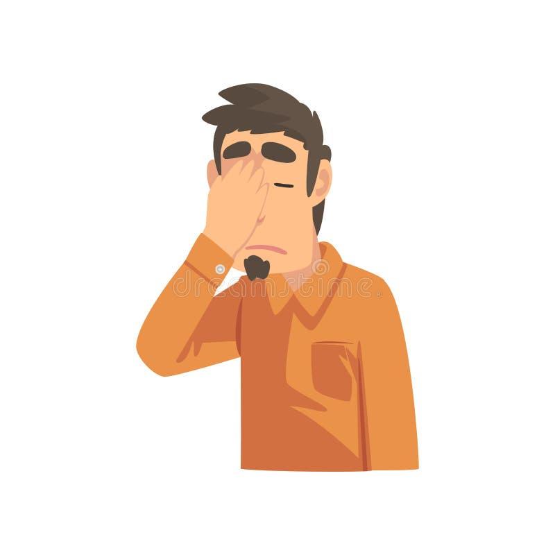 Giovane deludente che copre il suo fronte di mano, Guy Making Facepalm Gesture, vergogna, emicrania, delusione illustrazione vettoriale