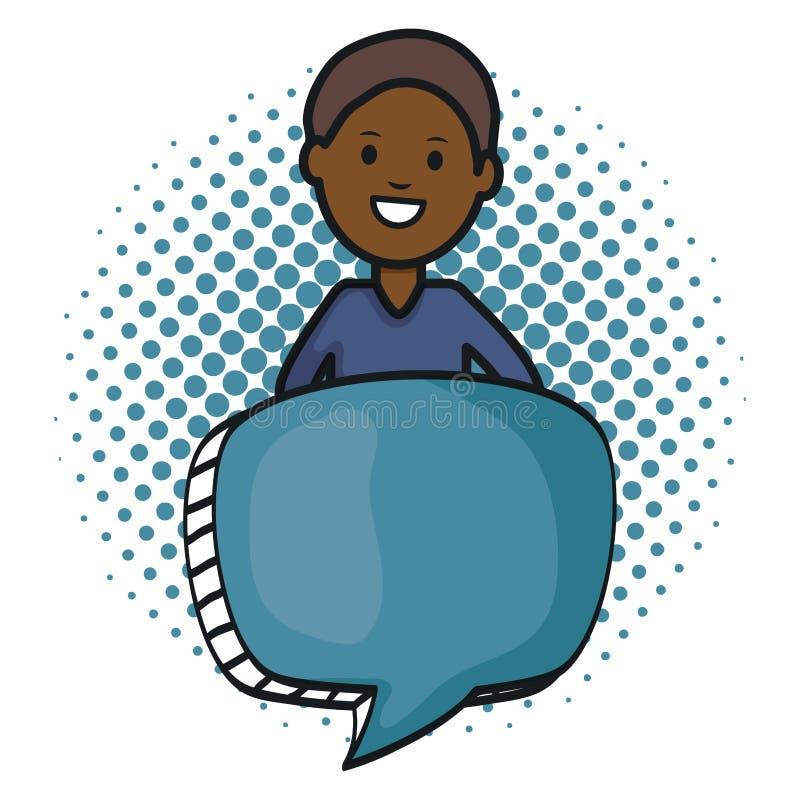 Giovane di afro con il carattere dell'avatar del fumetto illustrazione vettoriale