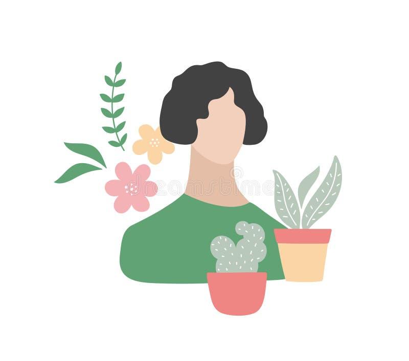 Giovane donna adorabile con le suoi piante degli oggetti di occupazioni e fiori domestici illustrazione di stock