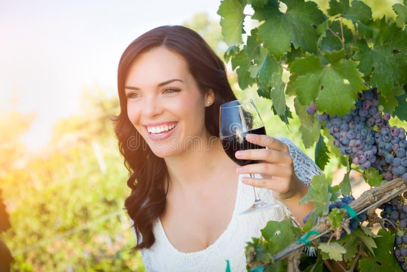 Giovane donna adulta felice che gode dell'assaggio del bicchiere di vino nella vigna fotografia stock