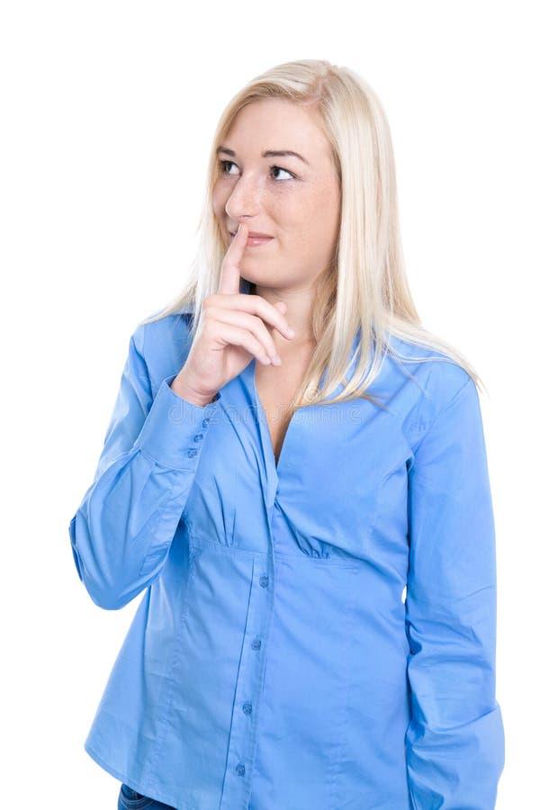 Giovane donna affascinante abile e timida isolata di affari nel bl blu fotografie stock