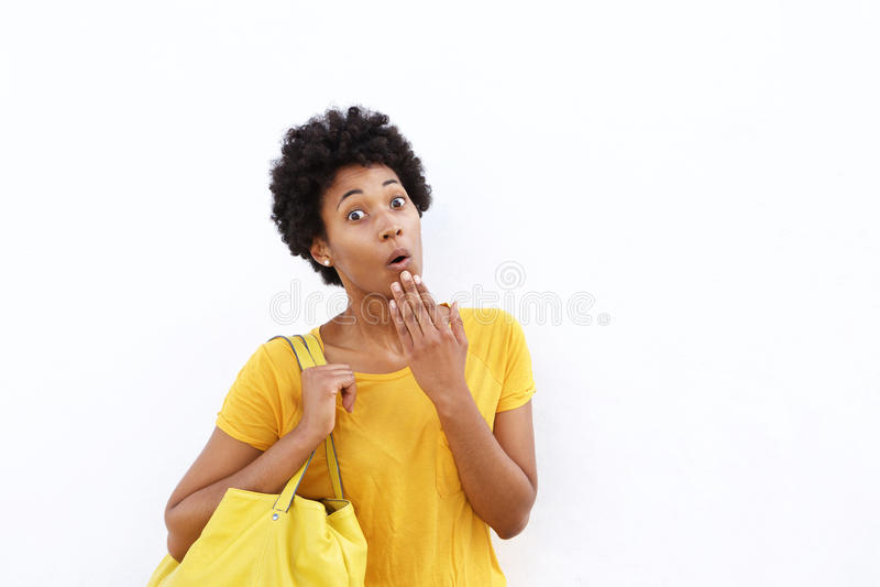 Giovane donna africana sorpresa fotografia stock