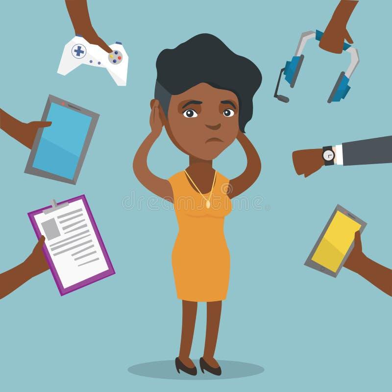 Giovane donna afroamericana circondata dagli aggeggi illustrazione vettoriale