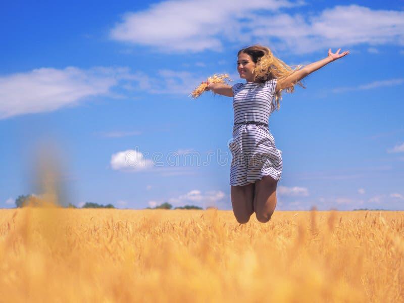 Giovane donna al giacimento di grano sotto il cielo blu alla d soleggiata immagini stock libere da diritti