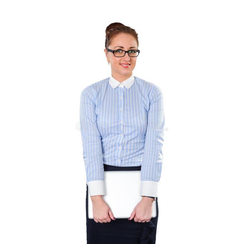 Giovane donna alla moda di affari con il computer portatile immagine stock libera da diritti