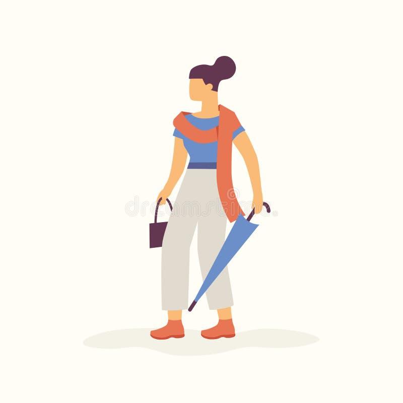 Giovane donna alla moda moderna che cammina con l'ombrello e la sciarpa piegati in tempo caldo di autunno Vettore di concetto di  royalty illustrazione gratis