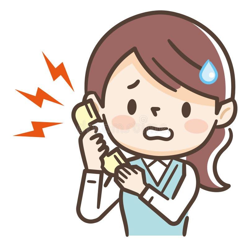 Giovane donna ansiosa che parla sul telefono cellulare royalty illustrazione gratis