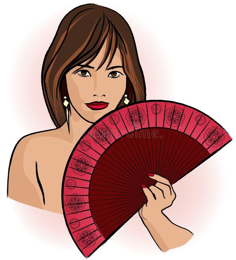 Giovane donna asiatica con un ventilatore royalty illustrazione gratis