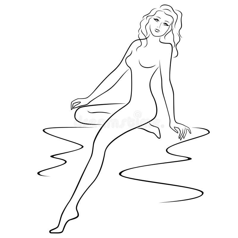 Giovane donna attraente che posa mezzo giro royalty illustrazione gratis
