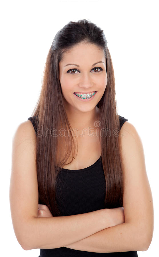 Giovane donna attraente con i sostegni immagini stock libere da diritti