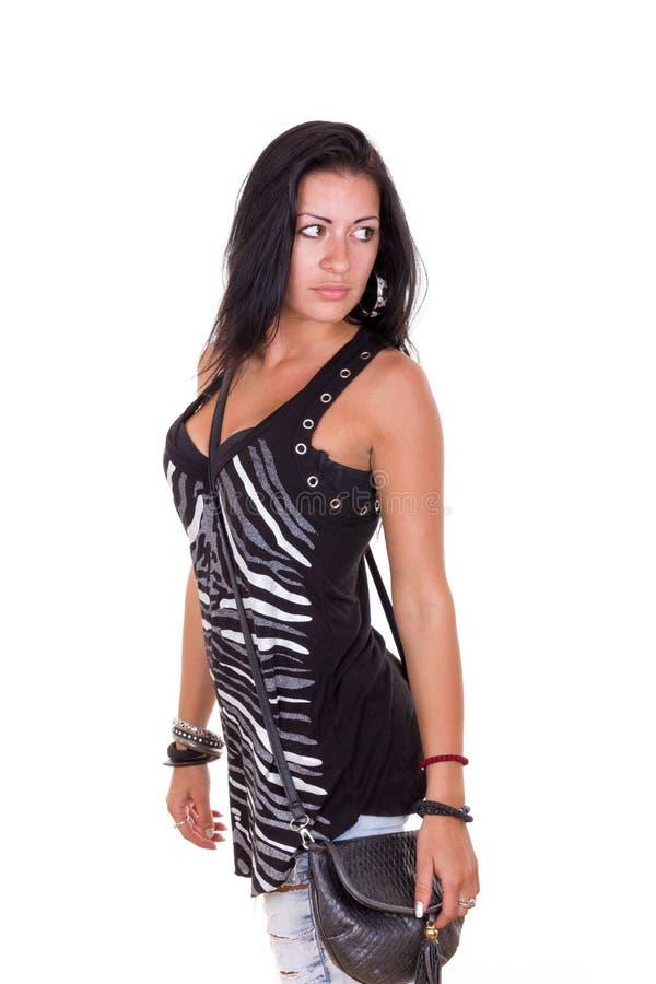 Giovane donna attraente con la borsa fotografie stock libere da diritti