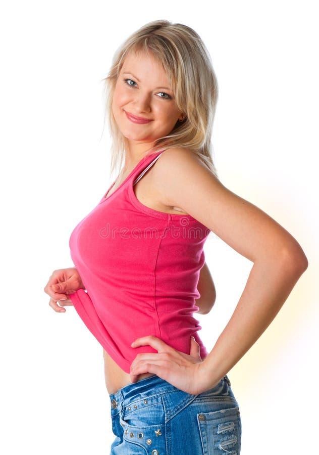 Giovane donna attraente in miniskirt immagini stock
