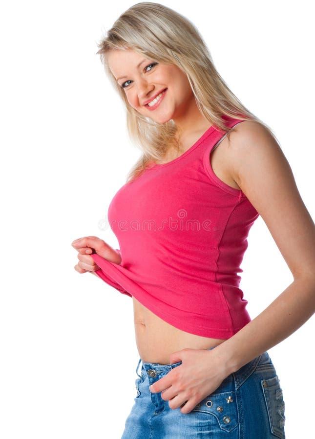 Giovane donna attraente in miniskirt immagini stock libere da diritti