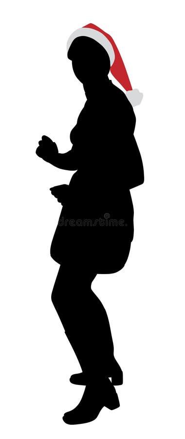 Giovane donna attraente nel ballare del cappello di Santa Claus royalty illustrazione gratis