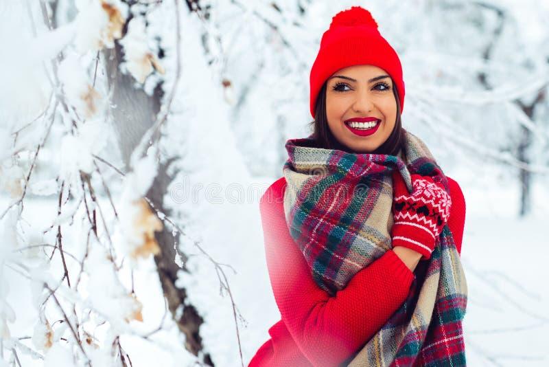 Giovane donna attraente nell'orario invernale all'aperto - immagine fotografie stock libere da diritti