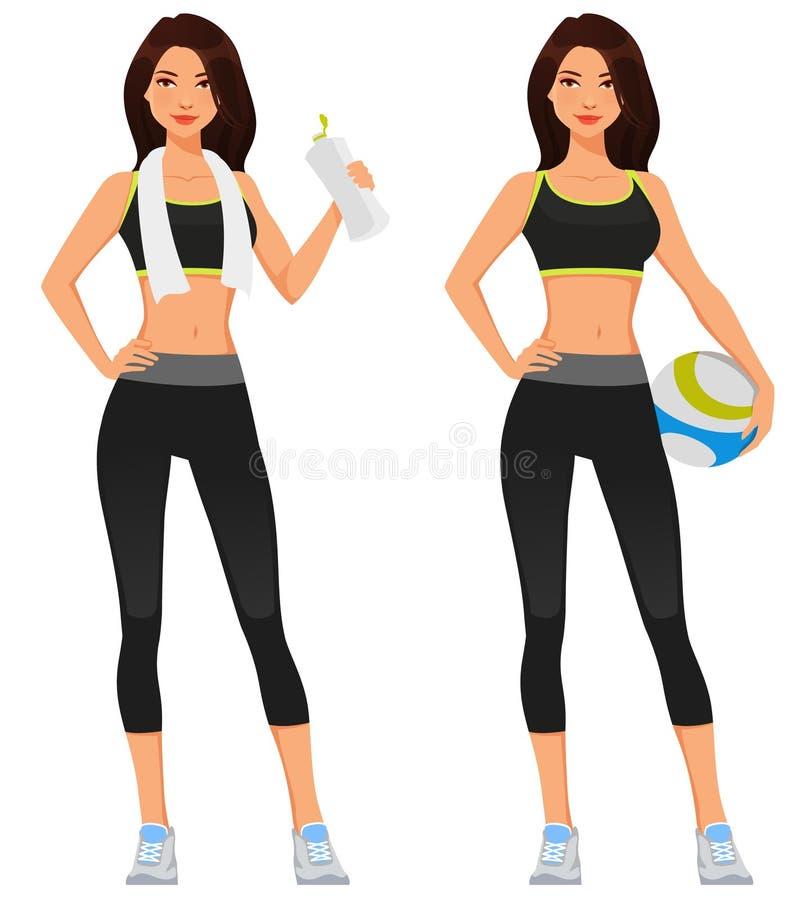 Giovane donna attraente in sporstwear di forma fisica illustrazione di stock