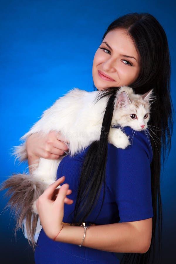 Giovane donna attraente in un vestito da sera blu con un gatto bianco immagini stock
