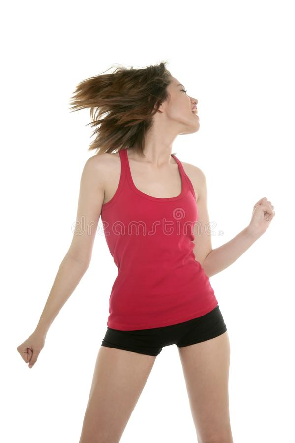 Giovane donna ballante con i brevi pantaloni sexy fotografia stock