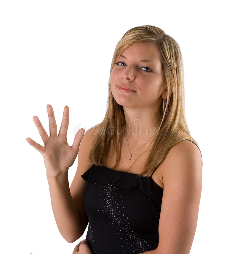 Giovane donna bionda che tiene cinque barrette fotografia stock