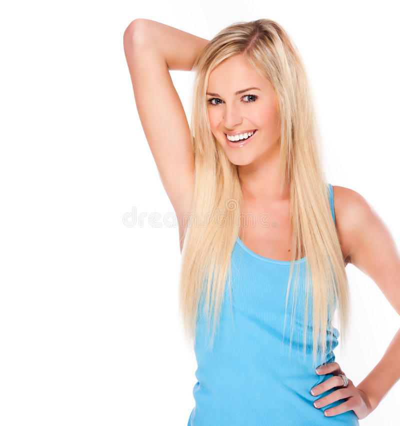 Giovane donna bionda felice fotografie stock libere da diritti