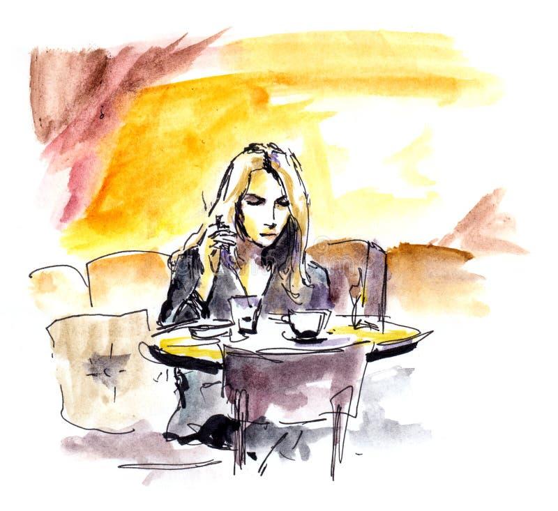 Giovane donna in caffè che si siede alla tavola con la tazza di caffè, schizzo illustrazione di stock