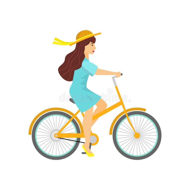 Giovane donna in cappello sulla bicicletta gialla isolata su bianco illustrazione vettoriale