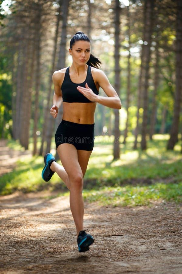Giovane donna castana che corre nel parco, ente adatto in buona salute e perfetto di tono Allenamento fuori Concetto di stile di  immagine stock libera da diritti